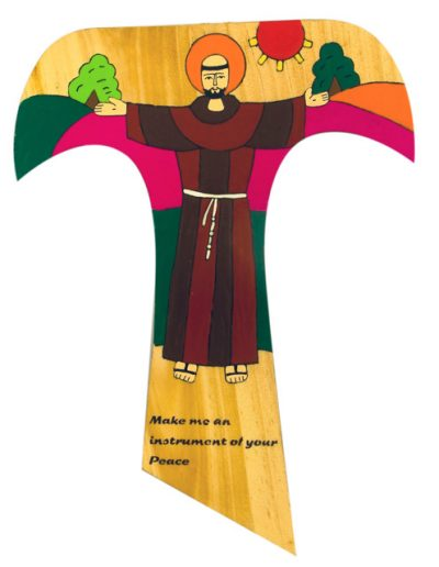 74 St Francis peace prayer Tau cross - Available in 25cm